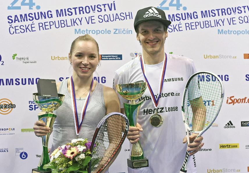 Mistrovské tituly ve squashi pro rok 2016 získali Olga Kolářová a Jan Koukal.